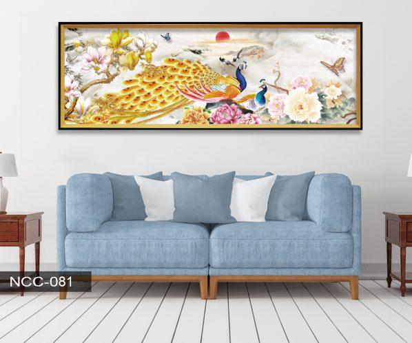 Tranh canvas treo tường khổng tước và hoa