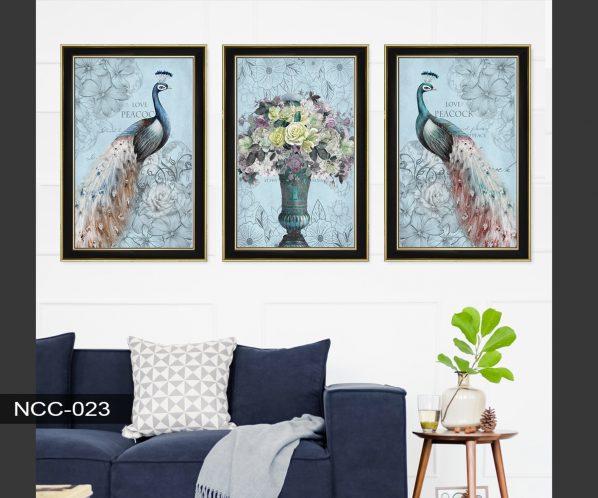 Tranh canvas treo tường chim công và bình hoa