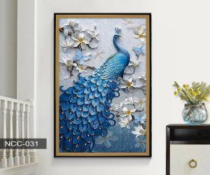 Tranh canvas treo tường khổng tước đậu cành lan