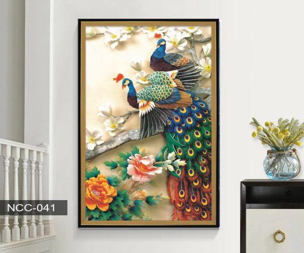 Tranh canvas treo tường đôi chim khổng tước