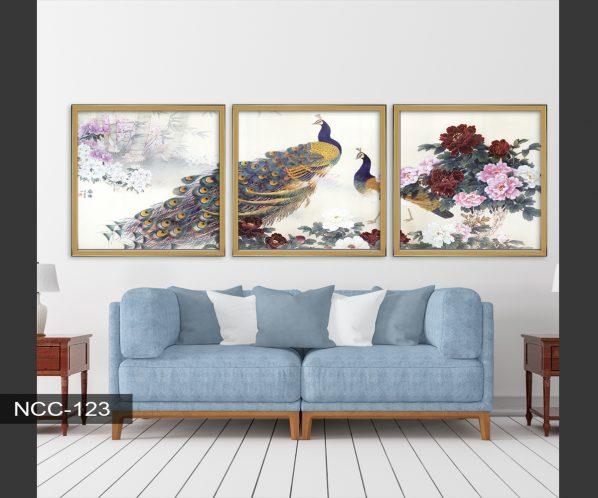 Tranh canvas khổng tước và hoa