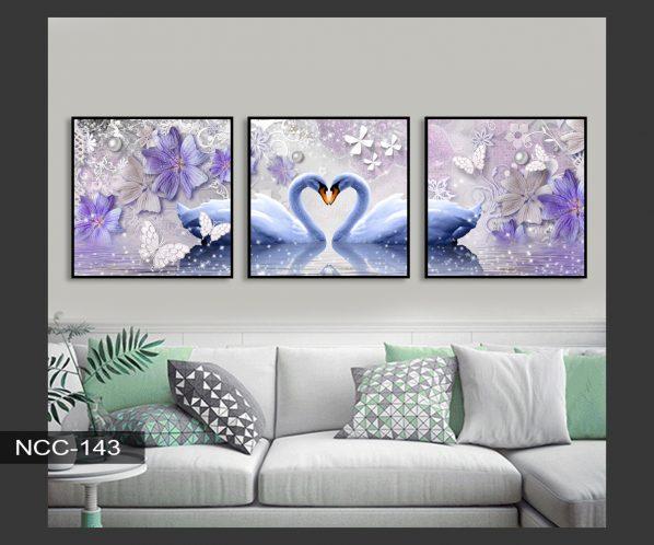 Tranh canvas treo tường đôi thiên nga hạnh phúc