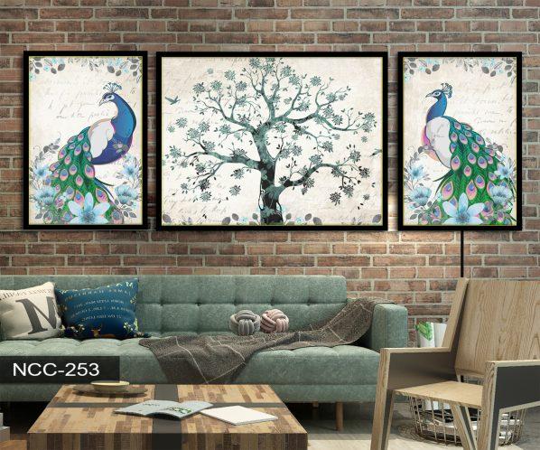 Tranh canvas treo tường khổng tước và cây