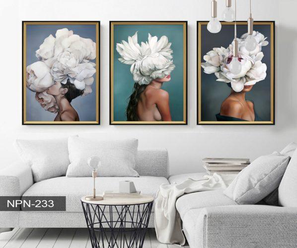 Tranh canvas treo tường phụ nữ và hoa